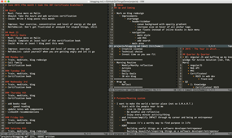 The System Git Things Done and vim