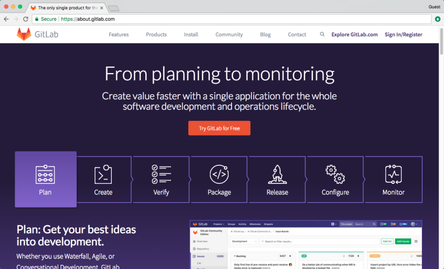 Image of GitLab Homepage