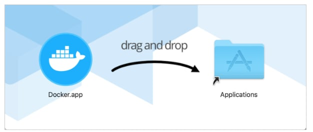Instalação do Docker no MacOs - Arrastar para instalar do Finder