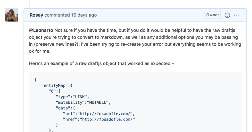 Screenshot of me requesting more details on GitHub