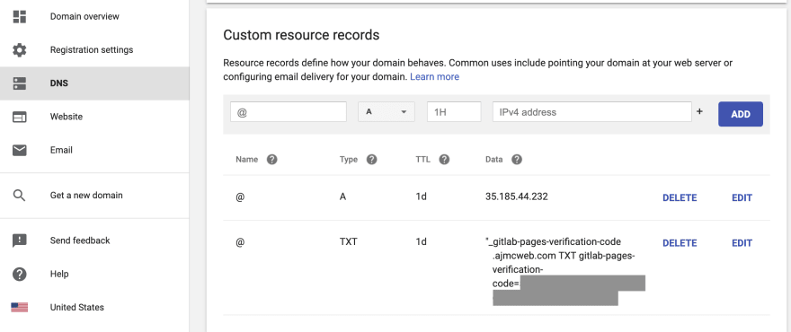Google Domains DNS Custom Resources