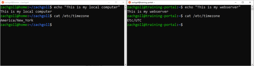 Local Computer (left), Webserver (right)