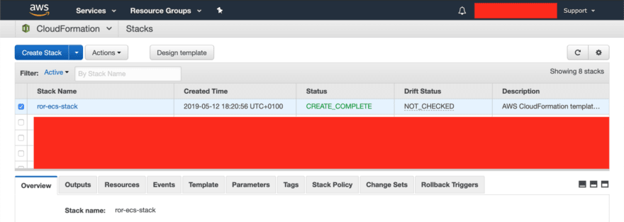Alt ror-ecs-stack on AWS console