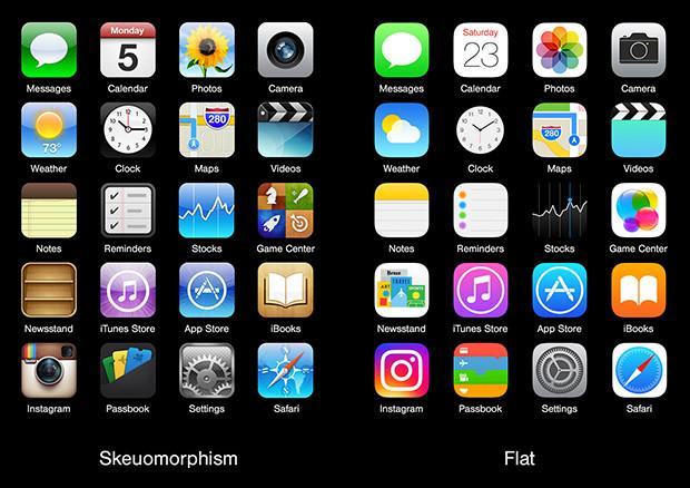 Examples of skeumorphic vs. flat icons
