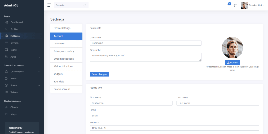 AdminKit - Open-Source Bootstrap 5 template, settings page.
