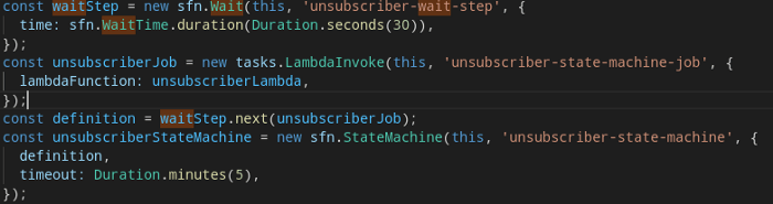 "TypeScript / CDK / Step Functions / State Machine ""Wait"" step"