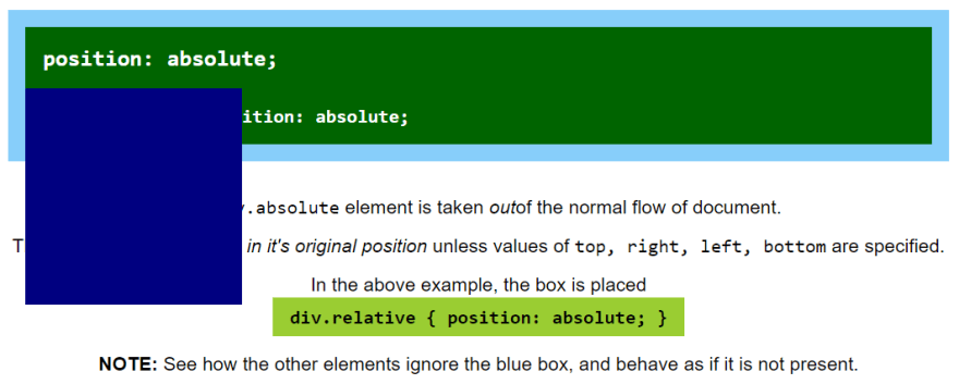 Element with absolute position