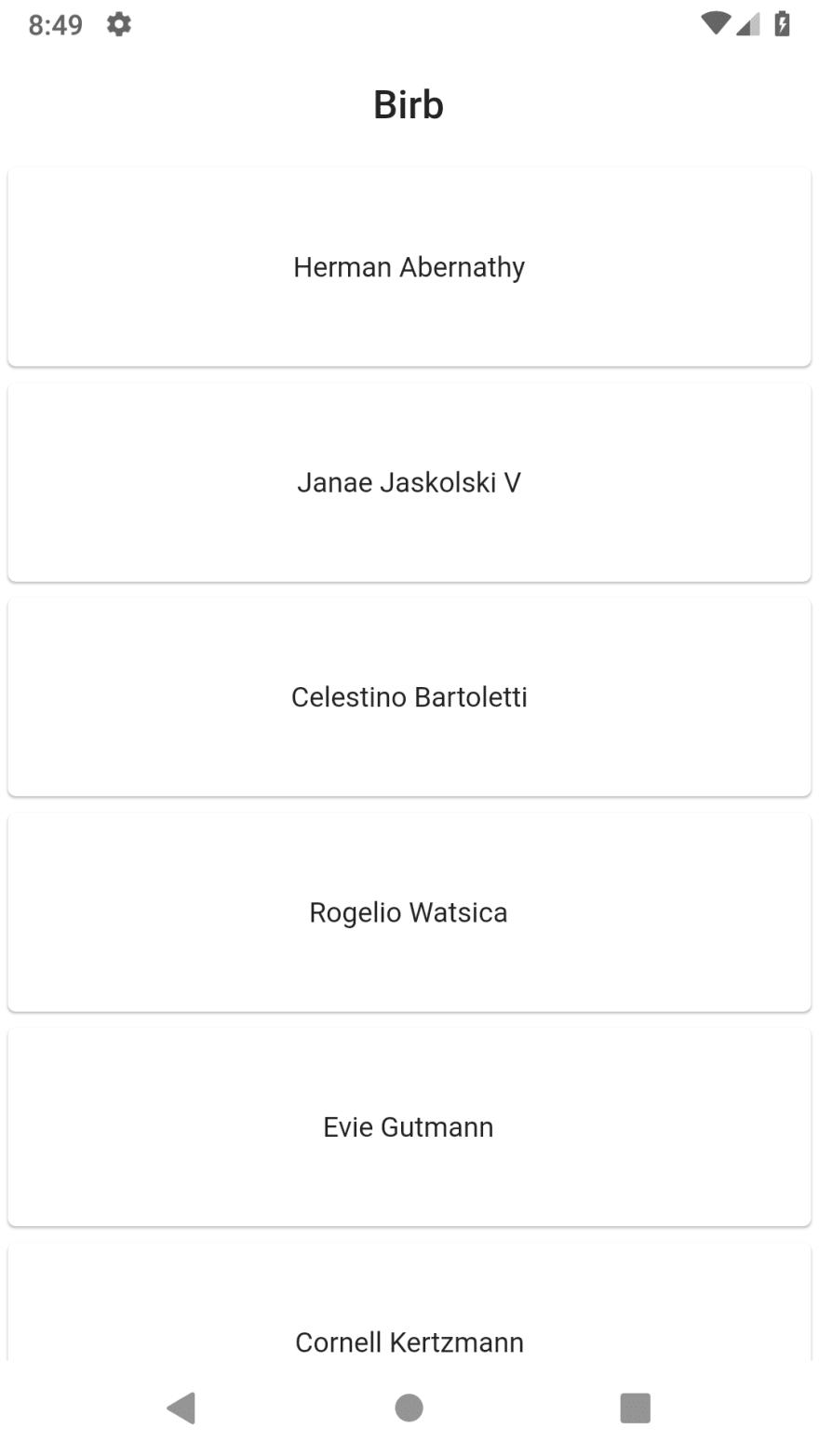 Screenshot of random mock usernames