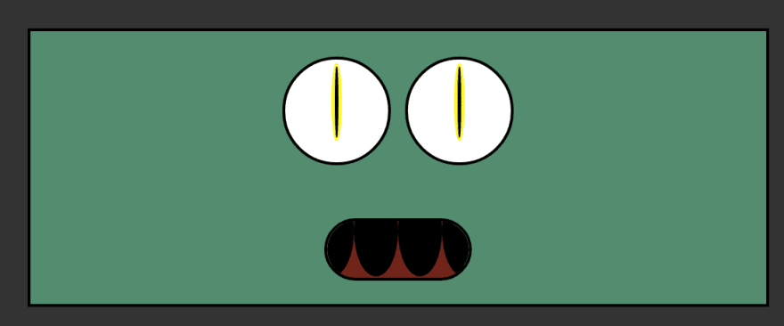 Green alien face. Alien has large round eyes with thin black pupils.