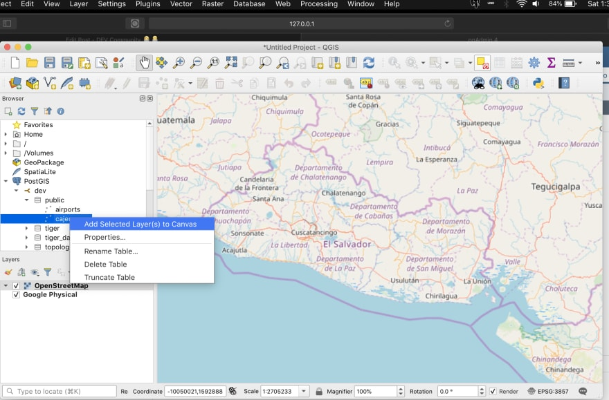 Installing PostGis and QGis, first GeoDataBase and Simple