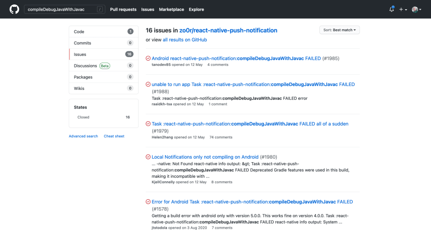 """Screenshot of a GitHub search for the query """"compileDebugJavaWithJavac""""."""