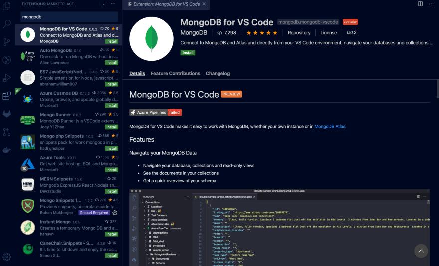 MongoDB Extension for VS Code