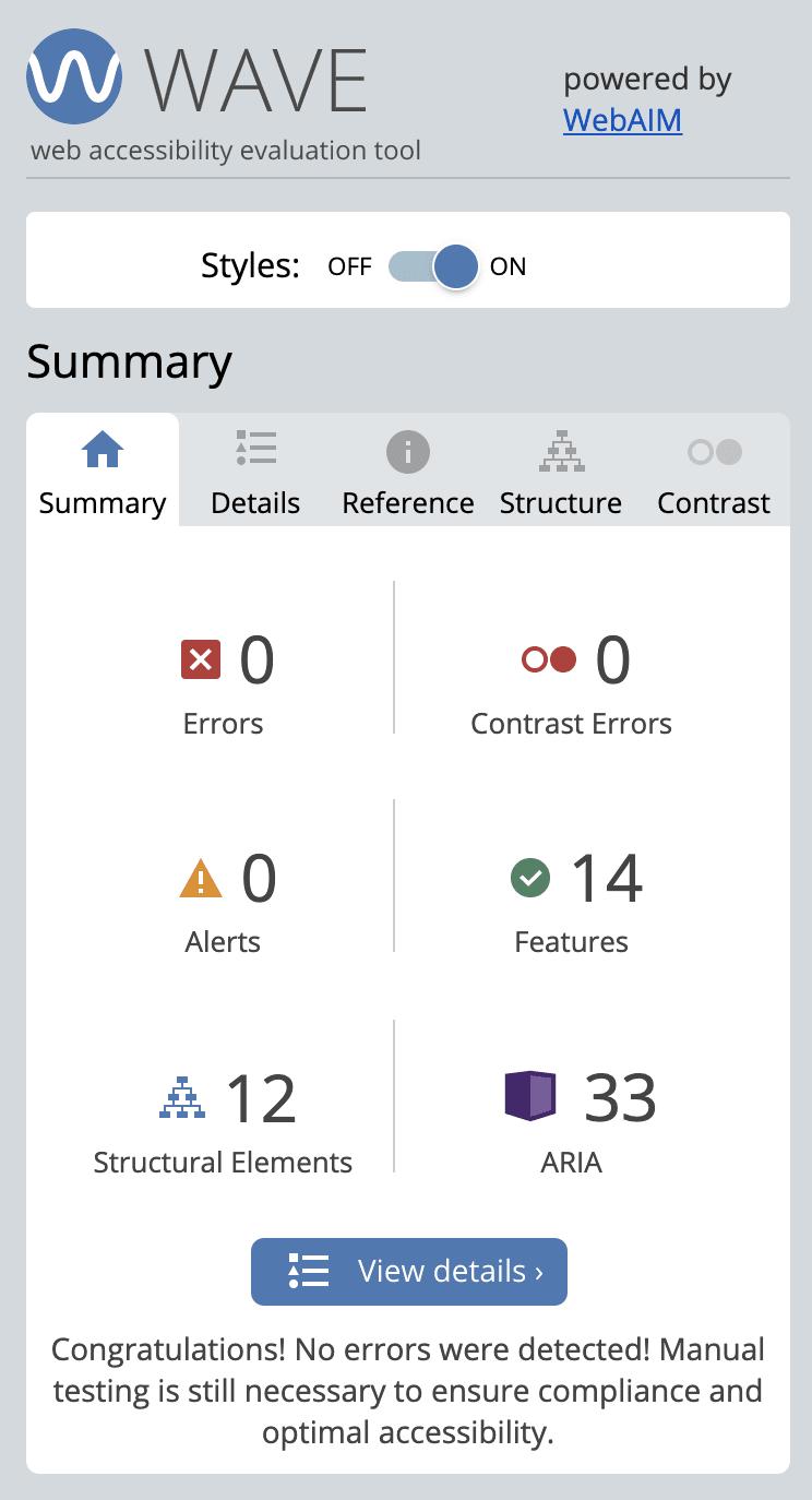 Screenshot of Wave report: no errors
