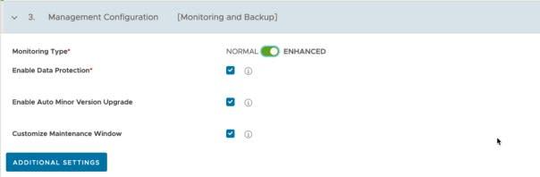 Data Management for Tanzu - Org User - Create Database - Management Configuration