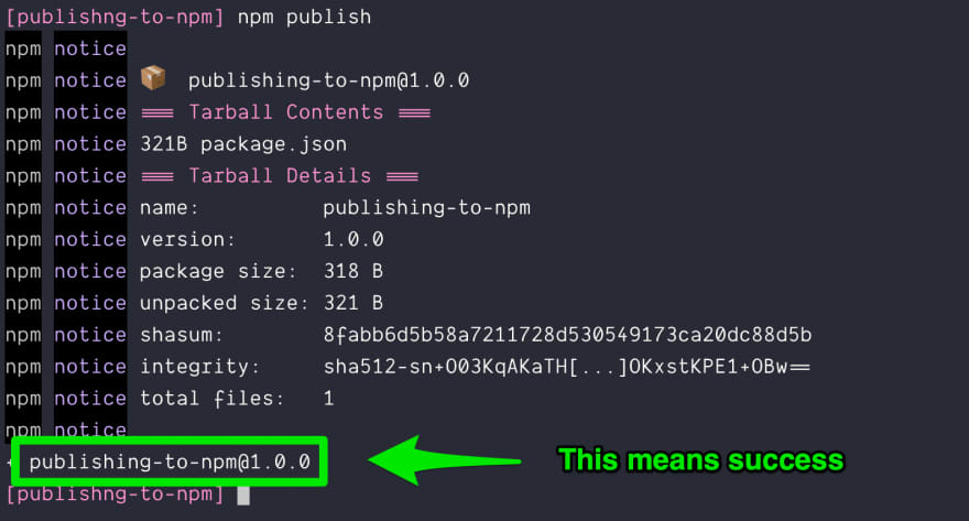 Successfully published to npm