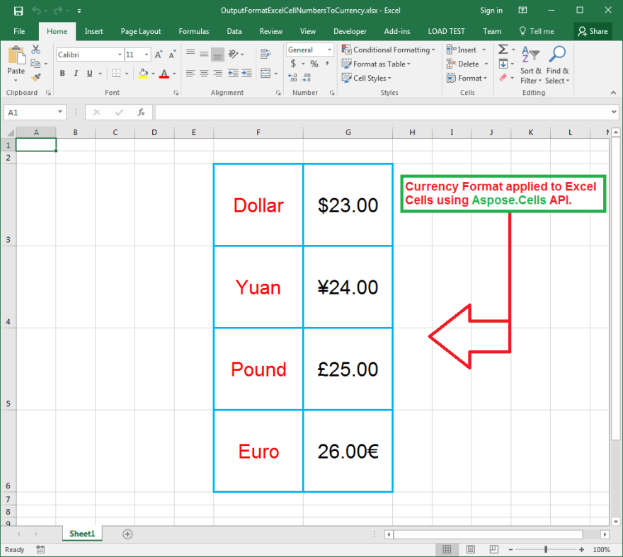 Currency formats applied on Excel cells using Aspose.Cells API.