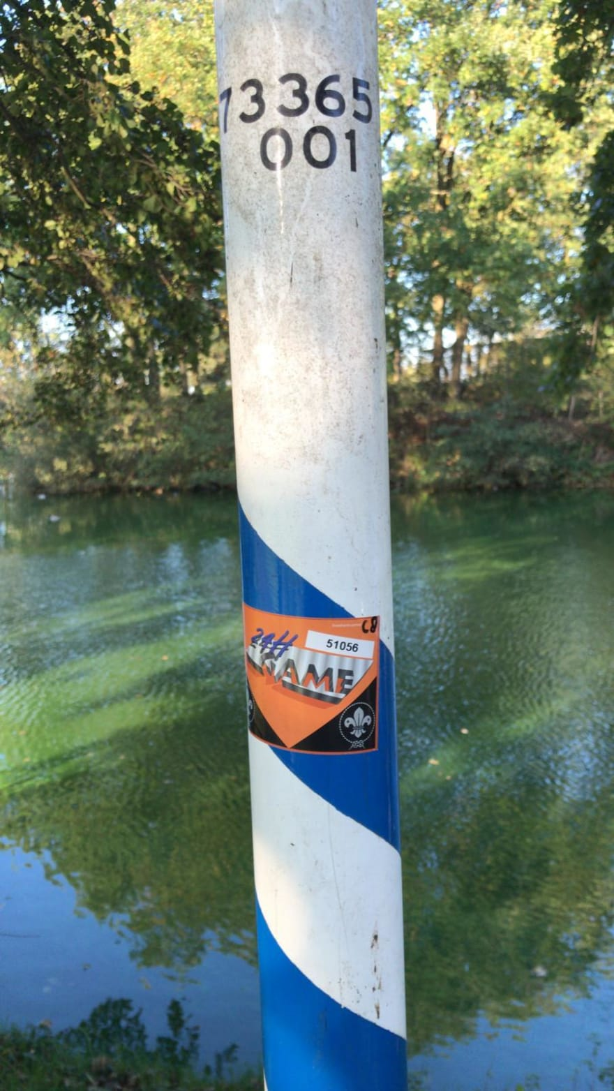 sticker on pole
