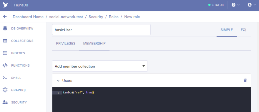 Fauna Dashboard: Predicate function for the Users collection, make it return true