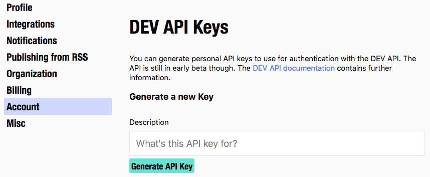 Generate DEV.TO API Key by giving a description and clicking on the Generate button