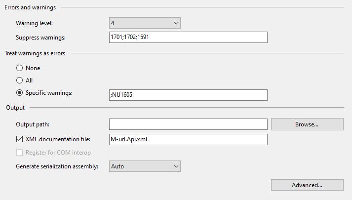 Enable XML Comments via Project Properties Dialog