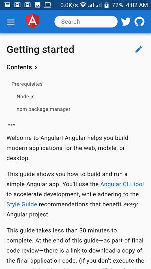 Angular's Documentation Page Mobile View