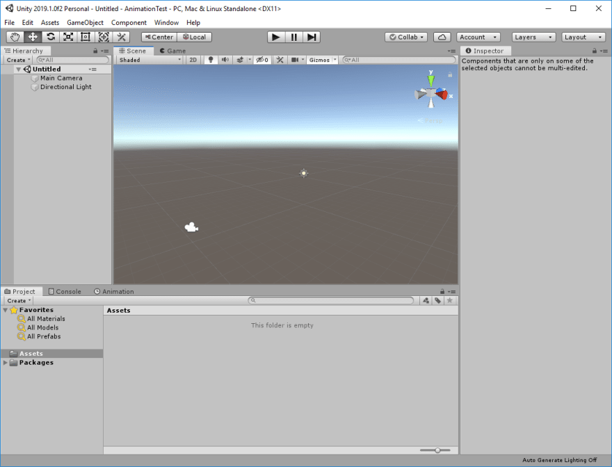 Unity Editor with the default scene