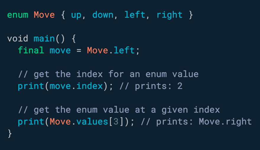 Need to convert an enum to an int or viceversa? Use .index and values\[i\]