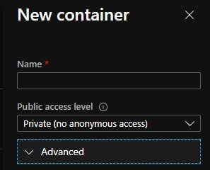 create container - name, private