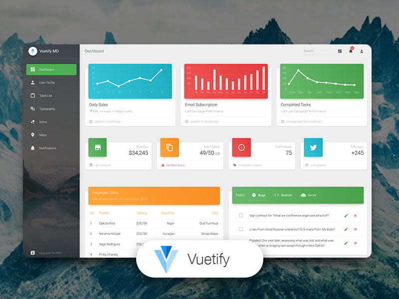 Vuetify Material Dashboard by Creative Tim