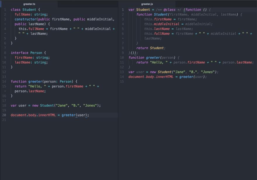 JS vs TS code