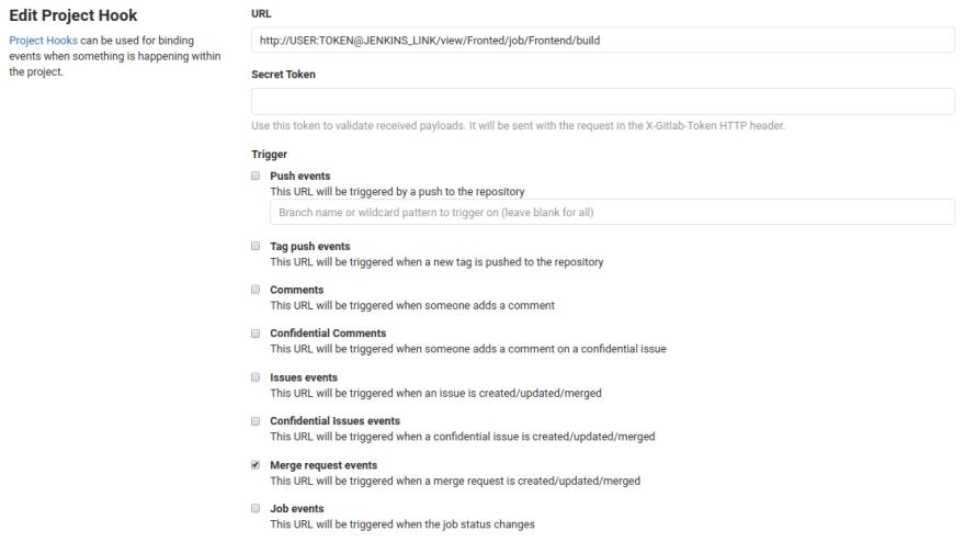Configuração de Webhook de um projeto no GitLab