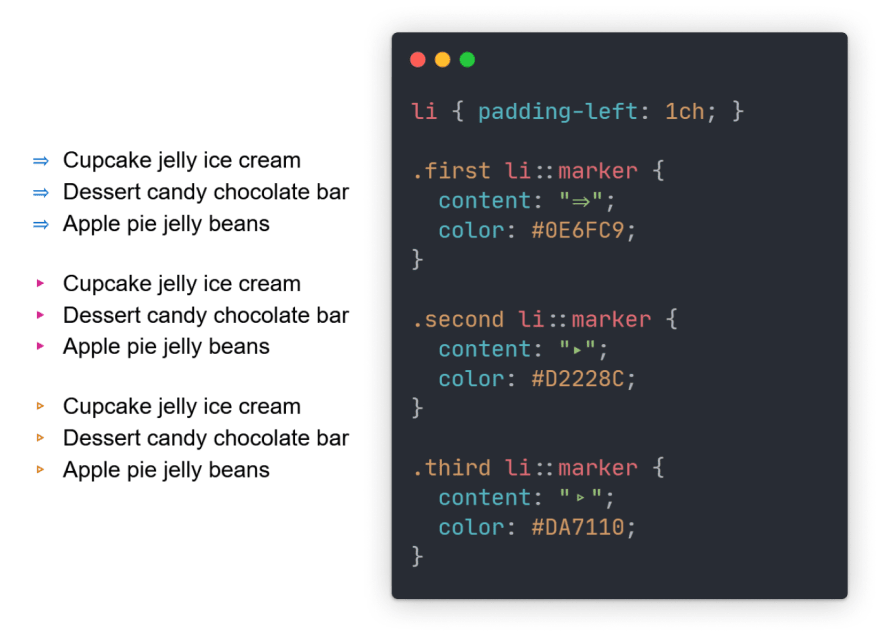 Code snippet with preview with colored arrows instead of default bullets.