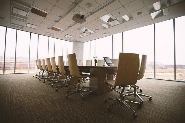 Conference room with glass windows all around it