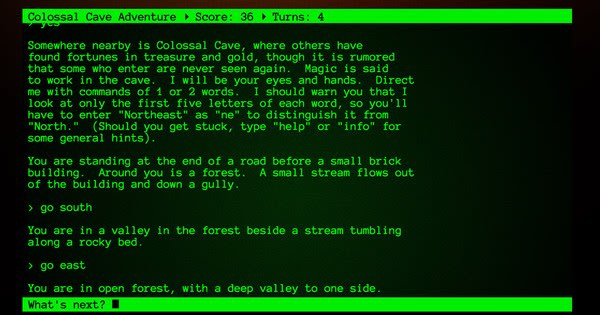 Colossal Cave Adventure, the first text-based adventure game.