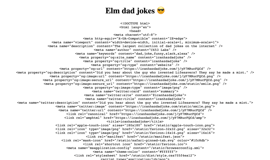 A screen shot of a bunch of HTML where the joke should be