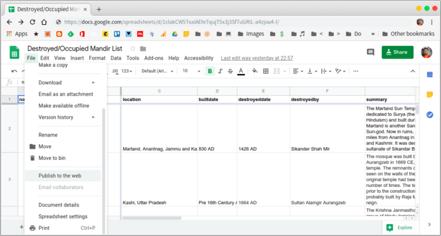 publish google sheets to web