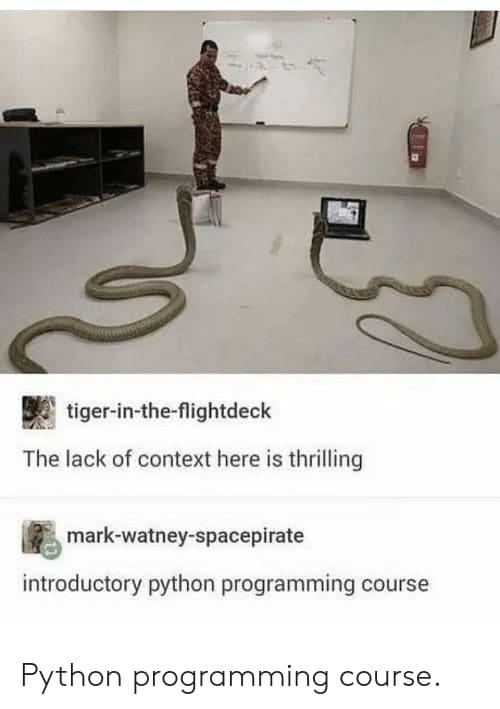A man teaching snakes programming - meme