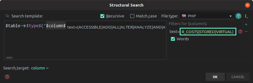 Pasting search rules