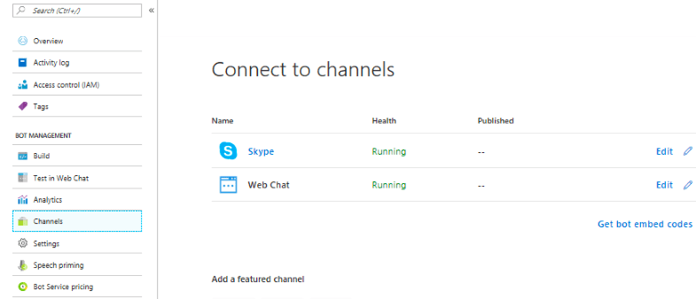 Azure Bot Service Integrations Skype and Web chat