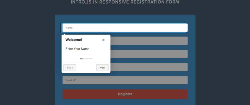 Cover image for Intro.js In Responsive Registration Form