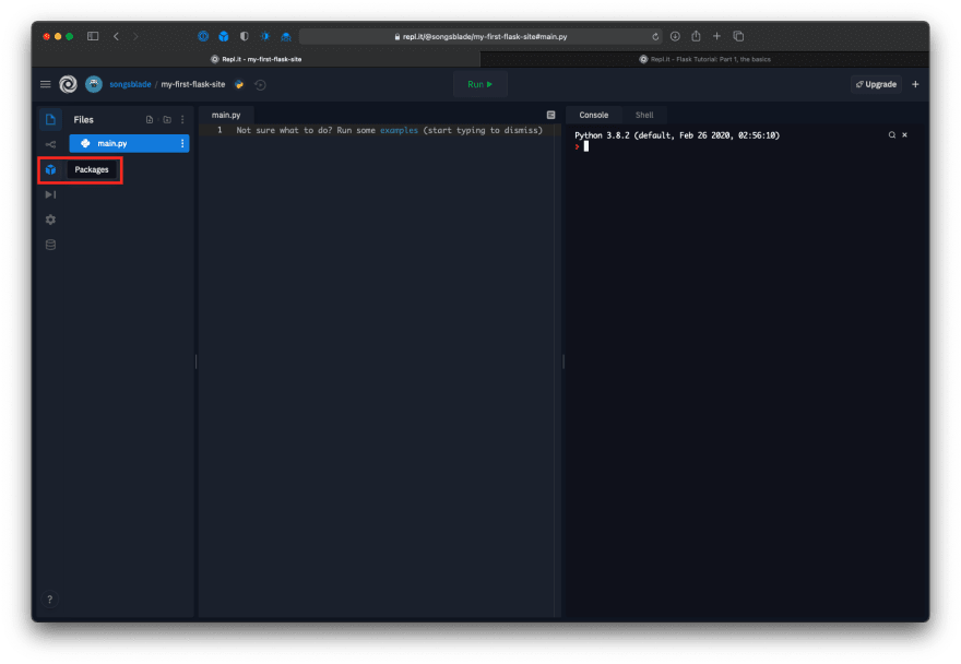 """Repl editor with the """"Packages"""" icon highlighted"""