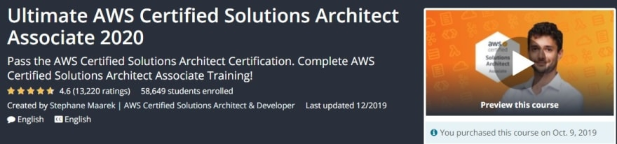 "Ultimate AWS Certified Solutions Architect Associate"" course by Stephane Maarek"
