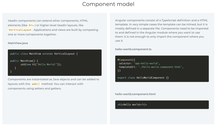 Comparing the component models of Vaadin and Angular