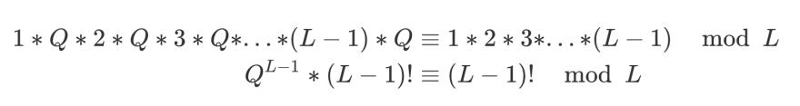 Q^(L-1) * (L-1)! = (L-1)!