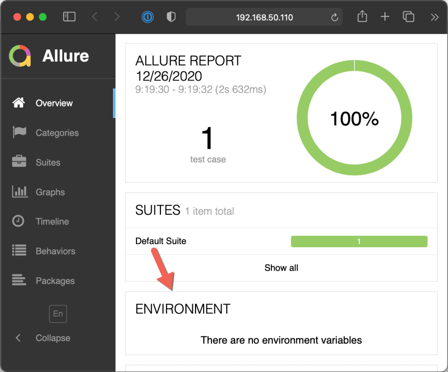 Allure Report image with an empty Environment section (the default)