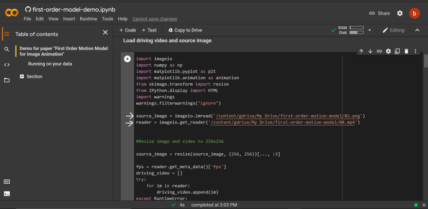 colab-demo screen shot