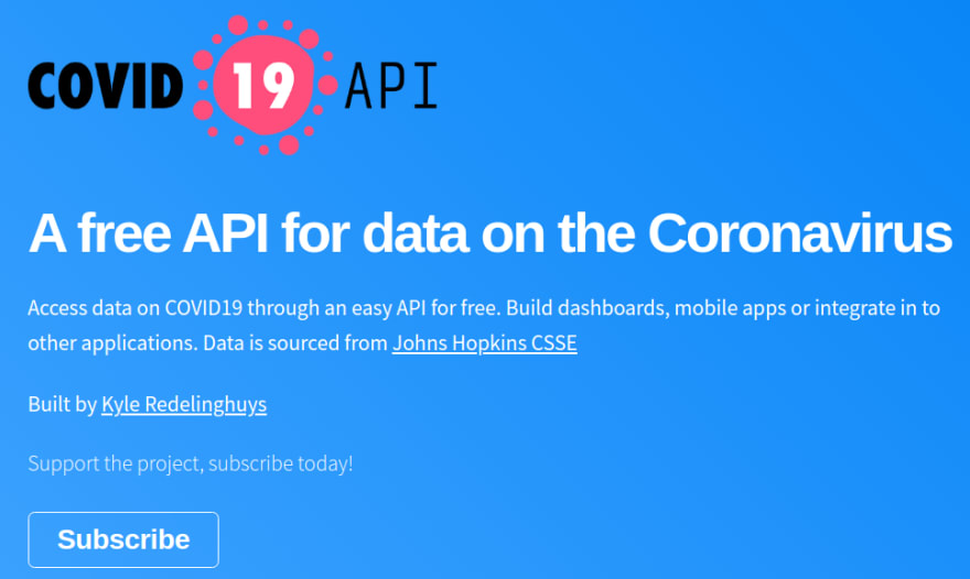 free covid data api