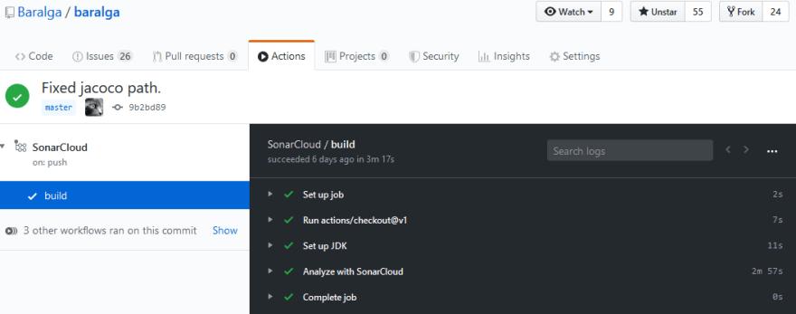 Baralga SonarCloud Build