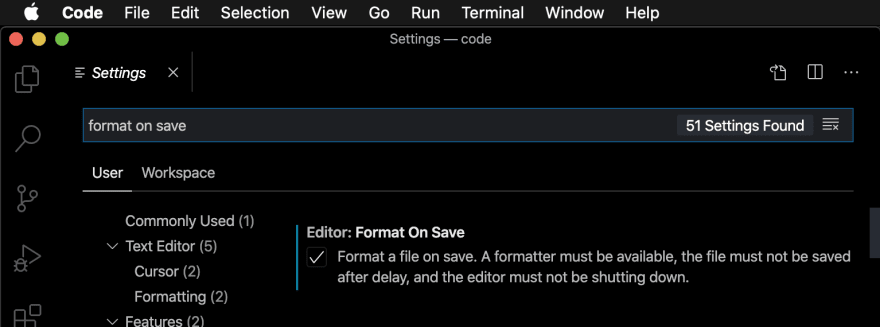 "The VSCode settings interface for the ""format on save"" option"