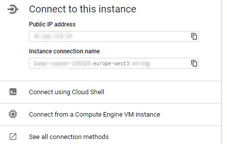 Google Cloud Webinterface